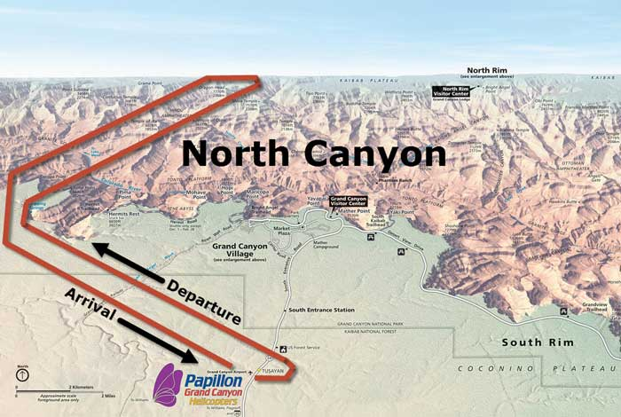 North Canyon Tour Route Map