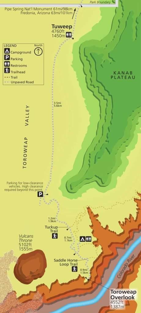 Toroweap Overlook at Tuweep Campground Map