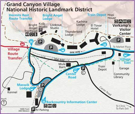 Grand Canyon Village Parking Map
